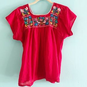 Boho Mexican Emboridered top S